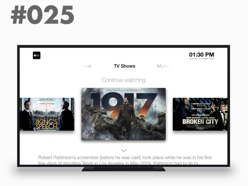 DribbbleTV App - Daily UI #025 daily 100 challenge dailyuichallenge dailyui daily uidesign uiux ui tv series tv show tv app tv apple tv apple