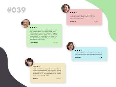 Daily UI 039 - Testimonials & Reviews website design webdesign web review animal art app adobe adidas branding daily ui dailyuichallenge daily 100 challenge uidesign design dailyui