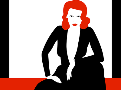 Lean Woman Blues vector drawing pretty hair female black hands dress sexy red lady illustration