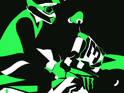Eli Tomac kawasaki helmet minimal white black green vecgtor illustration racing motorcycle motocross supercross