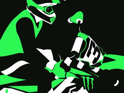 Eli Tomac kawasaki helmet minimal white black green vecgtor illustration racing motorcycle motocross supercross
