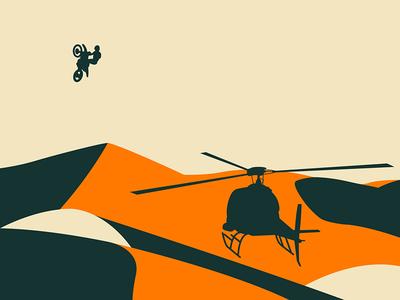 Doonies 3 orange vector jump motorcycle motorbike glamis sahara sand helicopter dunes motocross illustration
