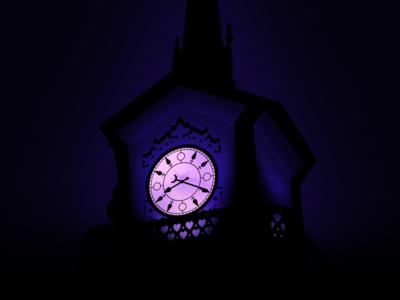 Clock Tower at Night time big ben peter pan disney face hands dark purple night illustration tower clock