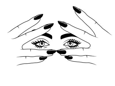 💅 👁 👁 💅  eyebrows fingers hands nails makeup eyes drawing draw sketchbook sketch illustration