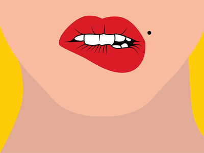 👄 love red color woman bite teeth mole drawing sketch illustration lipstick lips