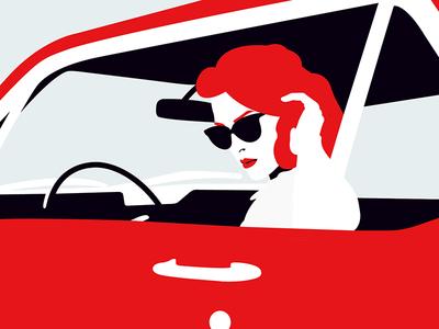 🕶💄🚘 suglasses car ford mustang vector pop lips art digital art illustration sketchbook sketch