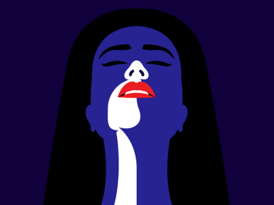 Sunkiss flat vector lady blue red lips woman girl drawing illustration shadow light