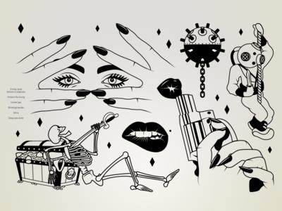 Black & White Illustrations knife gun sea lady pretty eyes lips black illustration drawing line ink