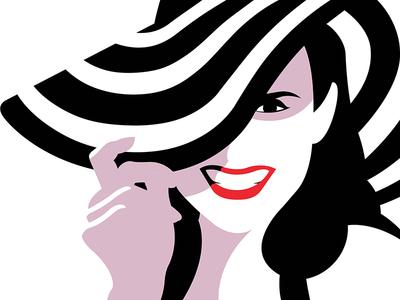 Stripes summer sun drawing monochrome lips lady stripes white black hat illustration