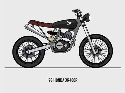 98 Honda XR400R scrambler machine bike vector drawing illustration dirtbike motorcycle xr honda