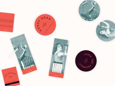 Just add liquor bar rose mediterranean vintage logo brand matches coasters matchbook