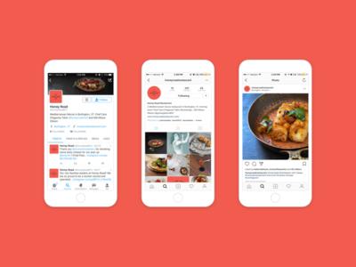 s o c i a l  m e d i a feed instagram twitter profile mediterranean logo brand restaurant identity
