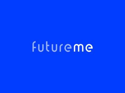 Logo Update for FutureMe futuristic type blue wordmark logo