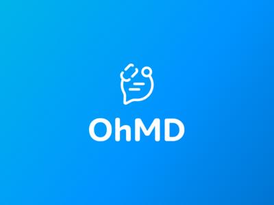OhMD Logo chat messaging stethoscope icon brand healthcare wordmark identity logo