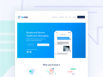 OhMD Marketing Site messaging chat xray ios mockups illustrations healthcare web website marketing site landing page