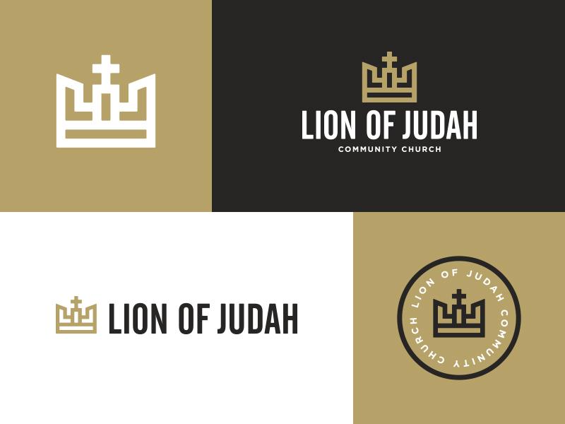 Lion of Judah Final Logos lines icon crown community church white black gold badge lion logo