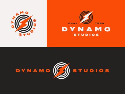 Dynamo Studios logo lightning electric orange chattanooga music sound branding