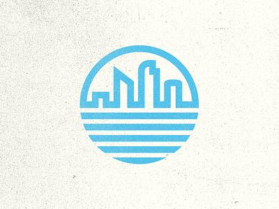 Update v2 circle logo thick lines texture retro vintage white blue city