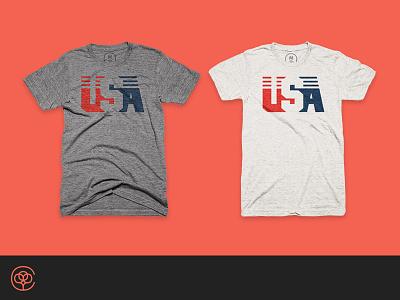 U-S-A vintage retro tee blue white red america shirt bureau cotton