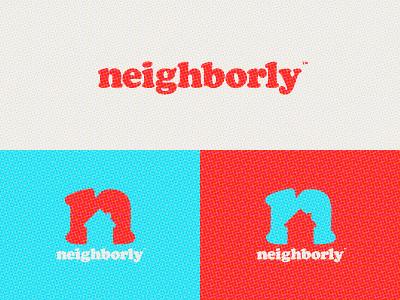 Neighborly Update logo white red blue neighborhood n house neighbor