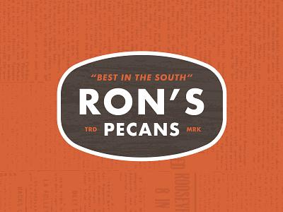 Ron's Pecans vintage orange brown pecan carolina south badge
