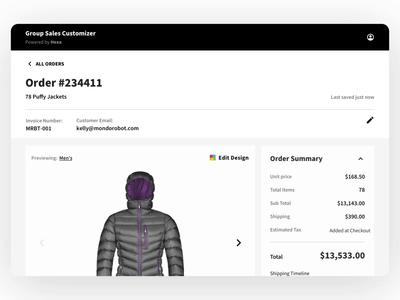 Smart, simple order management layout motion scroll customizable apparel jacket product design ecommerce ux ui design