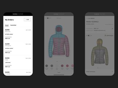 Responsive Apparel Customizer mobile ui jacket apparel product design customization mobile ux design ui