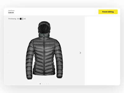 A simple platform with endless possibilities color design motion apparel jacket customization product design ux ui