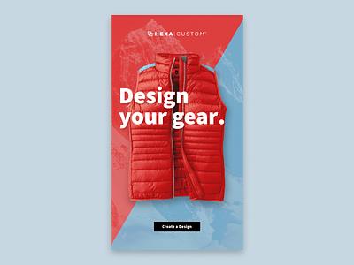 Design your gear. apparel customization kiosk touchscreen design ux ui