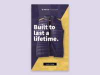 Build to last a lifetime. touchscreen kiosk apparel typography branding product design design ui ux