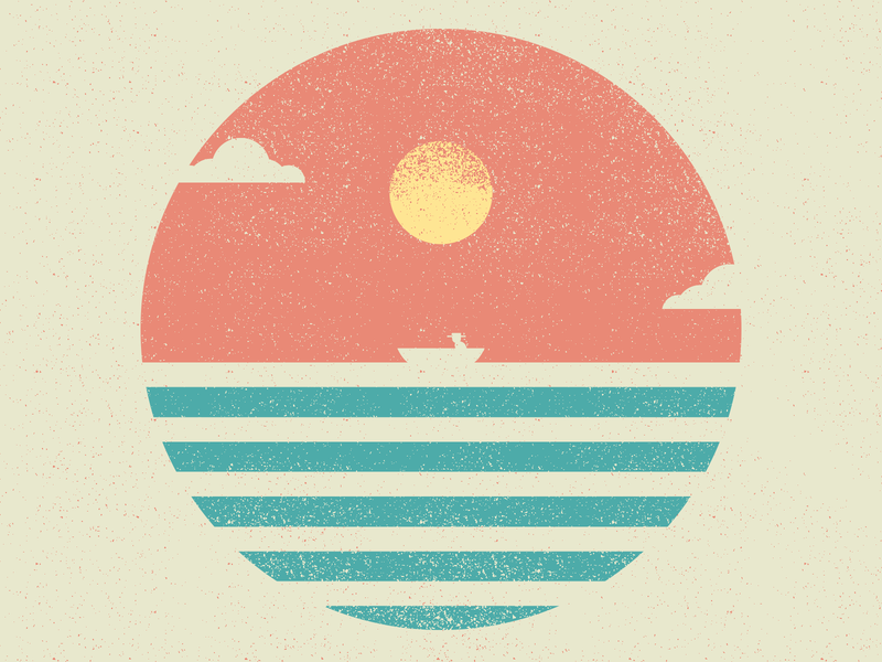 José Alvarenga alone boat horizon sunset sun ocean design vector wacom illustration