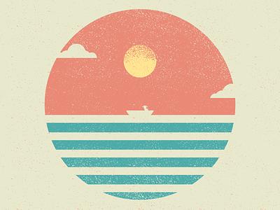 José Alvarenga alone boat horizon sunset sun ocean design vector wacom illustration