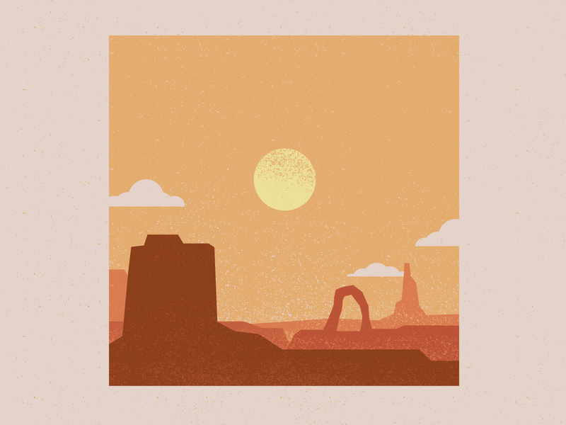 Aron Rolston horizon landscape sun canyon desert design wacom vector illustration