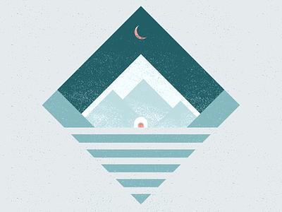 Ada Blackjack alone arctic horizon ice snow mountains design wacom vector illustration