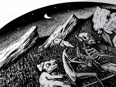 Mountains and a tandem bike. night dog skull skeleton mountains flatirons illustration micron ink pen and ink
