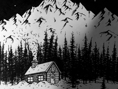 Snowed In night snow forest mountain mountains cabin