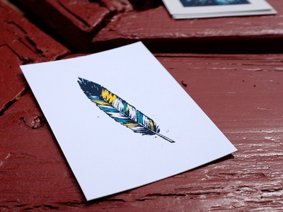 Feather Print colorado feather pen and ink screen print