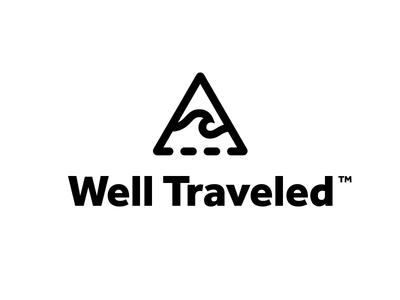 Well Traveled Logo desert wave mountain identity branding travel logo vector