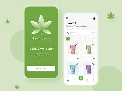 HushGreen - Marijuana Store App weed marijuana store ecommerce ux minimal app icon branding ui design