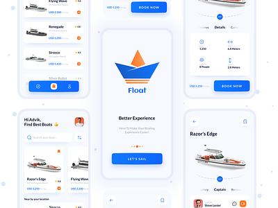 Float - Boat Booking & Rental App yacht vessel renting service book speedboat sailboat cruiser 3d rental booking rent boat clean ux ui design app