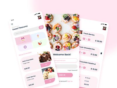 Sweet Pleasures - App Design colors food app minimal app ux design ui