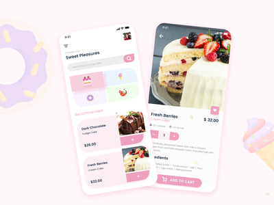 Sweet Pleasures -2 ux branding food app colors app design ux desigbn ui design