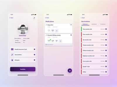Medication App- UI medicine reminder profile ui vaccine medication app app design colors ux ui design