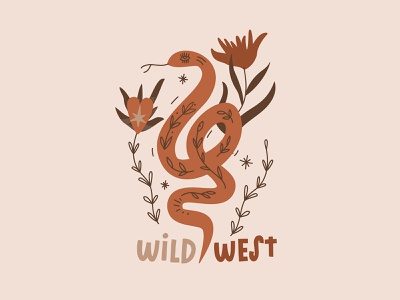 Desert Snake and wild flowers wildlife staywild desert snake illustration flower illustration vector art poster art design vector minimalism illustrator illustration art character design illustration artist