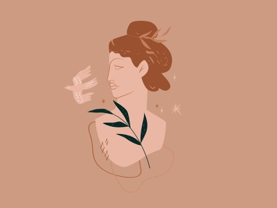 Venus woman portrait woman illustration woman beauty goddess bird aphrodite logo wildlife poster art design minimalism illustration art photoshop flat design character design artist