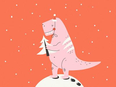 T-Rex X-mas graphic design holidays festive t-shirt illustration animal adobe illustrator postcard t-rex dinosaur new year christmas poster art illustrator artist vector art character design vector flat design illustration art illustration