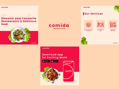 Carousal restaurant food ui branding vector design posts instagram carousel app