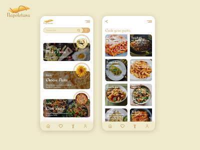 Napoletana Pasta Ui Design Mobile pasta app branding logo uiux ux ui mobile app mobile illustration design