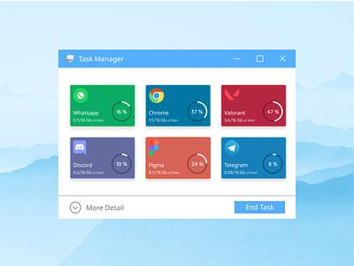 Windows Task Manager Fewer Detail Concept app design task windows 10 app web design ux ui uiux logo website design
