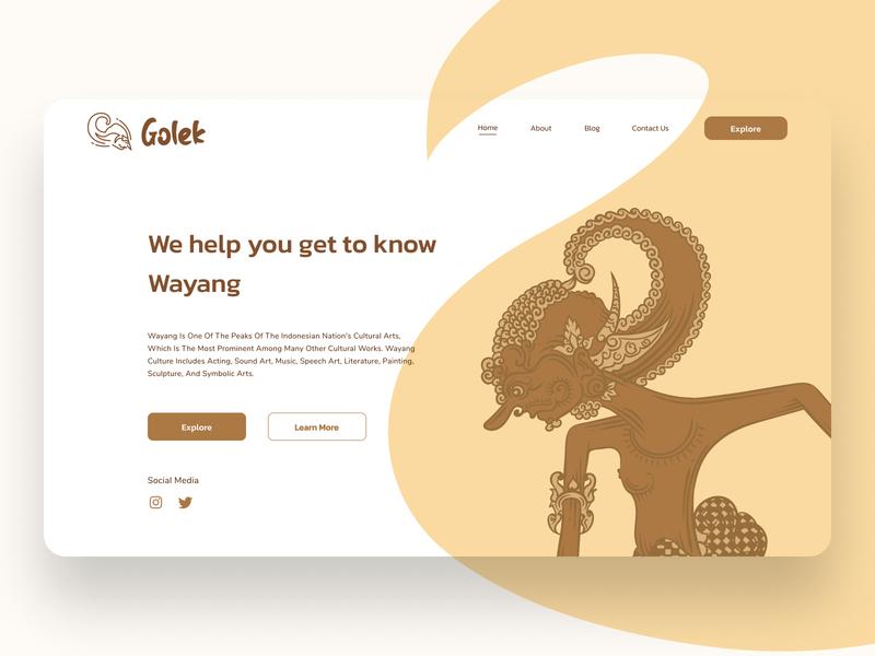 Golek Landing Page wayang landing page design landing page web design uiux illustration website design